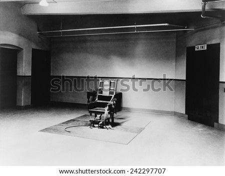 Death chamber and electric chair at Sing Sing Prison in 1923. - stock photo