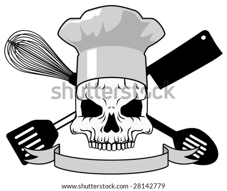 Death chef tattoo - raster - stock photo