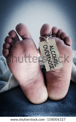 Death from alcohol overdose. Concept photo. - stock photo