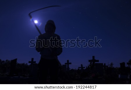 death in the cemetery at night the moon - stock photo
