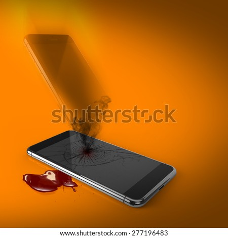 Death of technology: dead broken smart phone with soul passing - stock photo