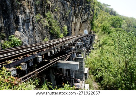 Death railway in  KANCHANABURI ,THAILAND                            - stock photo