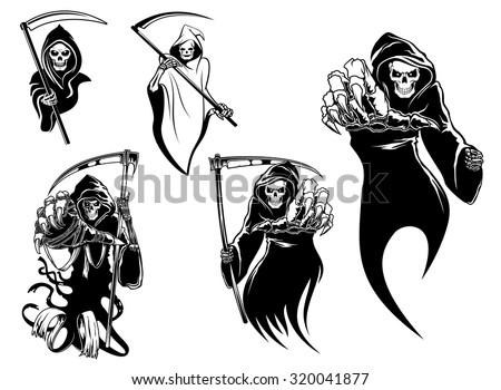 Death skeleton characters with and without scythe,  suitable for Halloween and tattoo design - stock photo
