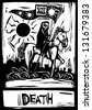 Death Tarot card with death riding a horse - stock photo