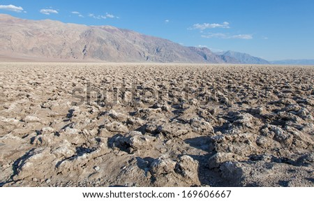Death Valley, California. The Devil's Golf Course point in the middle of the desert. - stock photo