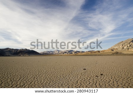 Death Valley Dry Lake Bed.  Racetrack. - stock photo