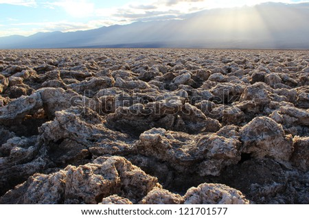 Death Valley from Devil's Golf Course, Death Valley National Park, California, USA - stock photo
