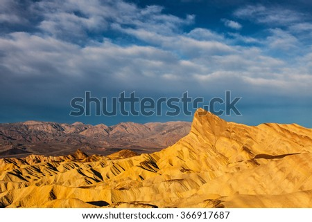Death Valley National Park Zabriskie Point Badlands  - stock photo