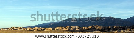 Death Valley panoramic ridge at dawn - stock photo