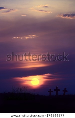 Death valley : Red Twilight landscape cemetery, composition image of Spooky Halloween graveyard with dark clouds                               - stock photo