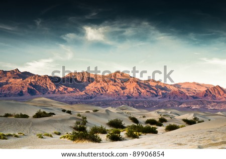 Death Valley sand dunes with bushes and mountains in the background. - stock photo