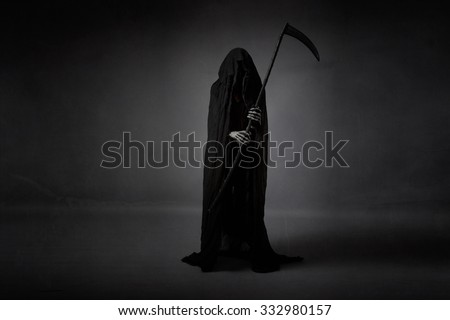 death with sickle, abstract room - stock photo