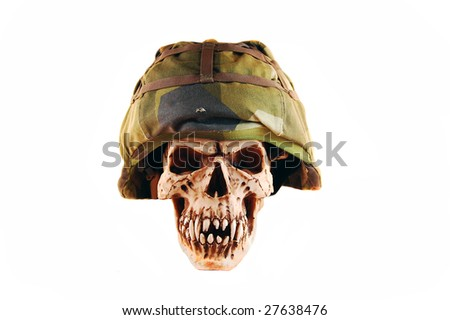 deathskull whit a soldier helmet, isolated on white - stock photo