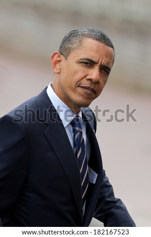 DEAUVILLE, FRANCE - MAY 27, 2011 : President of United State Barack Obama at the summit G8/G20 - Deauville, France on May 27 2011 - stock photo