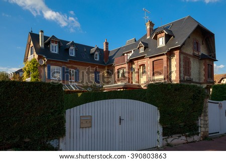 Deauville, France - October  9, 2015: The fence and the gate - stock photo