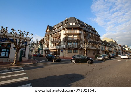 Deauville, France - October  9, 2015: Traffic streets in the city of Deauville, Normandy - stock photo