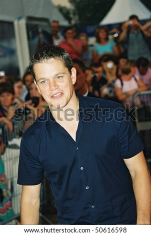 DEAUVILLE, FRANCE - SEPTEMBER 5: Matt Damon attends the 'The Bourne Supremacy' Premiere at the 30th Deauville American Film Festival on September 5, 2004 in Deauville, France - stock photo