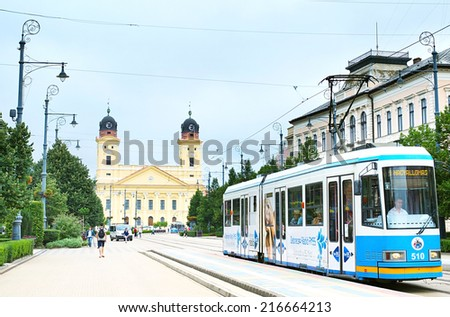 DEBRECEN, HUNGARY - AUGUST 12, 2014: Historical center of the Debrecen, Hungary. Debrecen is the second largest city in Hungary after Budapest. - stock photo