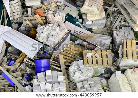 Debris after the construction of the bridge - stock photo