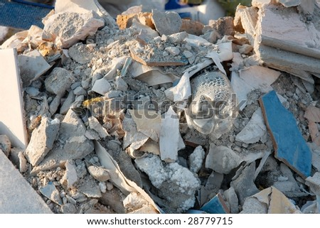 Debris and trash in a big pile - stock photo