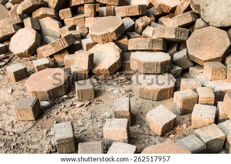 debris of brick - stock photo