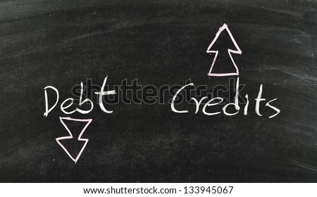 debt and credits concept written on blackboard - stock photo