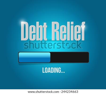 debt relief loading bar illustration design over a blue background - stock photo