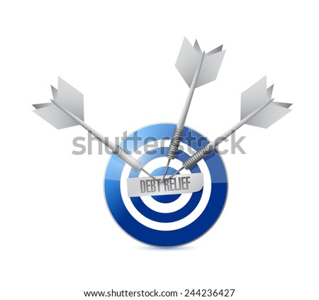 debt relief target illustration design over a white background - stock photo