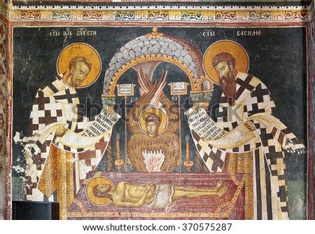 DECANI, KOSOVO - AUGUST 22: Wall paintings of the church in Decani Monastery on August 22, 2012 in Kosovo. Monastery is World Heritage Site by UNESCO - stock photo