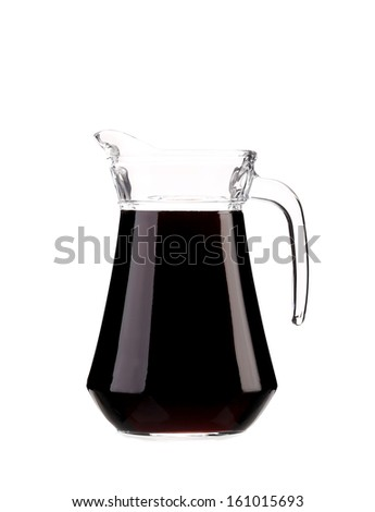 Decanter full with red wine. Isolated on a white background. - stock photo