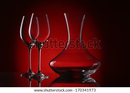 decanter with glasses - stock photo