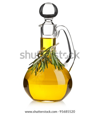 decanter with rosemary  oil isolated on white background - stock photo