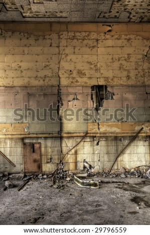 Decayed Block Wall - stock photo