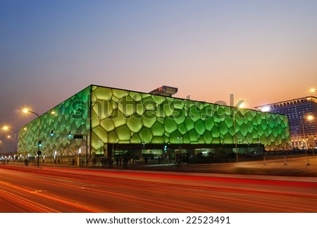 """December 18: Beijing's swimming Olympic Stadium (""""watercube"""") illuminated at dusk on December 18th, 2008 after the 2008 Olympic Games (August, 2008). - stock photo"""