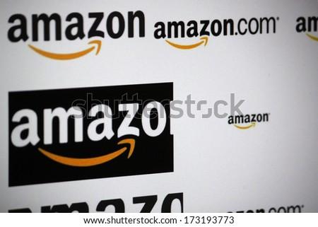 "DECEMBER 2013 - BERLIN: the logo of the brand ""Amazon"". - stock photo"