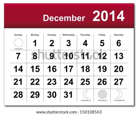 December 2014 calendar. Vector version available in my portfolio. - stock photo