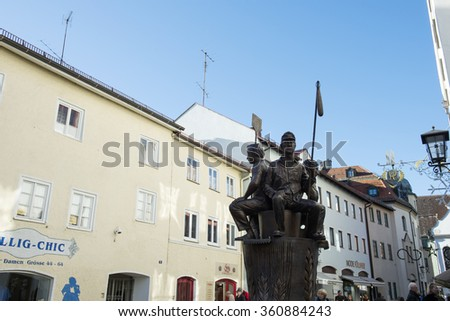 December 29. 2015: Fussen, Bavaria, Germany - The town street in Fussen. - stock photo