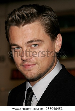 """December 6, 2006. Leonardo DiCaprio attends the Los Angeles Premiere of """"Blood Diamond"""" held at the Grauman's Chinese Theatre in Hollywood, California United States. - stock photo"""