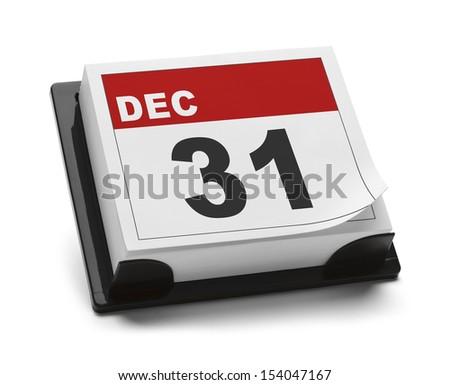 December 31st Calendar Isolated on White Background. - stock photo