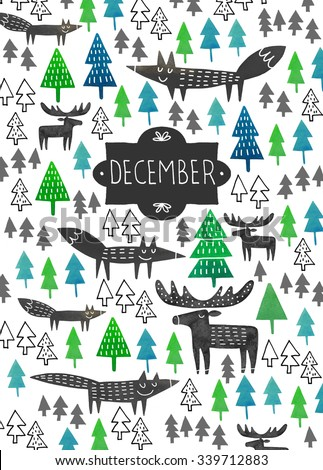 December watercolor poster or card design. December hand drawn poster. Hand drawn poster with winter forest and wild animals silhouettes. Winter poster with moose, foxes and trees silhouettes. - stock photo