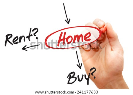 Decide concept buy or rent for the home, business concept  - stock photo