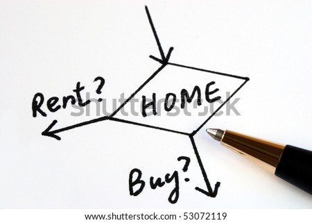 Decide whether to buy or rent for the home? - stock photo