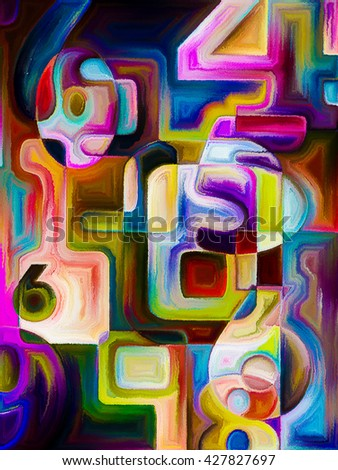 Decimal Paint series. Composition of painted decimal digits on the subject of math, science and education - stock photo
