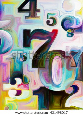 Decimal Paint series. Interplay of painted decimal digits on the subject of math, science and education - stock photo