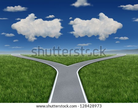 Decision Inspiration as a group of clouds in the shape of an arrow sign pointing in opposite paths as a business dilemma symbol of a crossroads concept. - stock photo