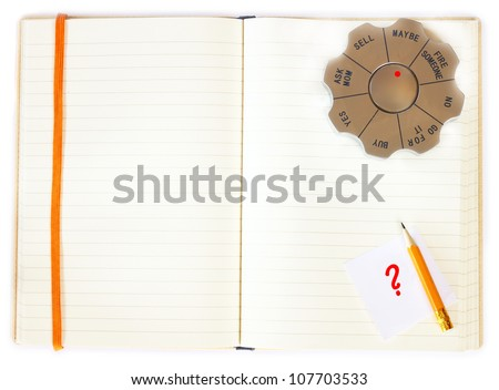 decision maker and notebook - decision making concept - stock photo