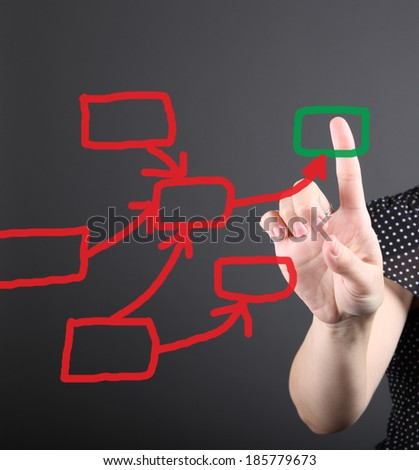 decision making concept - business woman touching screen - stock photo