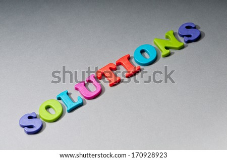 Decision making concept with word solution - stock photo