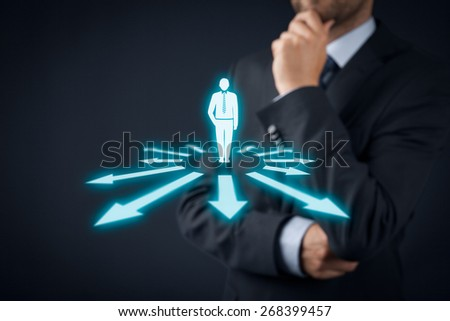 Decision making (management decisions) - select the best business perspective (direction) to future. - stock photo