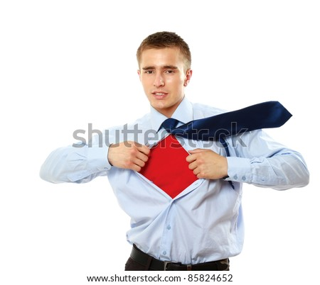 Decisive young businessman isolated - stock photo